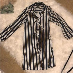 Black and off white striped blouse dress